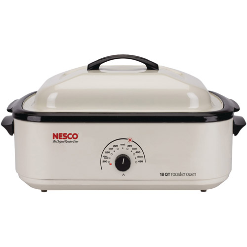 Nesco 18-Quart Roaster Oven, Ivory With Non-Stick Cookwell
