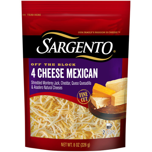 Sargento Off the Block 4 Cheese Mexican Fine Cut Shredded Cheese, 8 oz