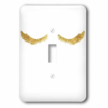 3dRose Image of Pretty Glam Gold Eyelashes - Single Toggle Switch