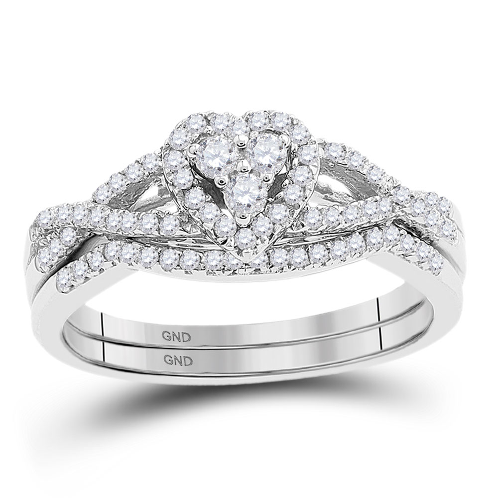 10kt White Gold Womens Round Diamond Heart Bridal Wedding Engagement Ring Band Set 3/8 Cttw