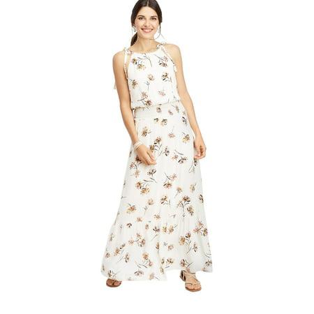 85cbe6930df Floral Print Smocked Waist Maxi Dress - Walmart.com