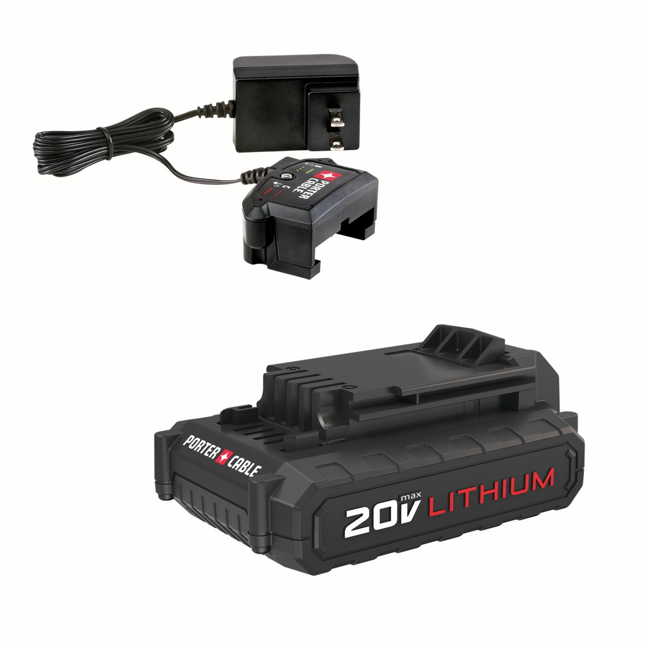 PORTER CABLE 20-Volt Max 1.3-Amp Lithium-Ion Battery And Cup Charger Kit, PCC899LA