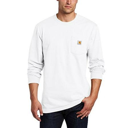 Carhartt Heavyweight Work Shirt - Carhartt Men's Workwear Midweight Jersey Pocket Long-Sleeve T-Shirt K126, White, Large