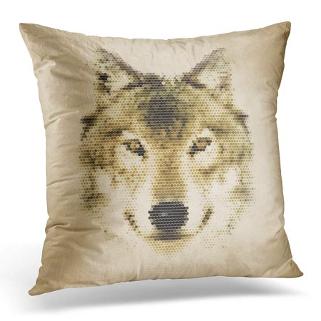 ECCOT Life Wolf Portrait Made Geometrical Shapes Vintage Design Geometric Graphic Pillowcase Pillow Cover Cushion Case 16x16 inch](Geometric Portrait)