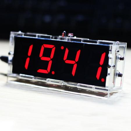 Compact 4-digit DIY Digital LED Clock Kit Light Control