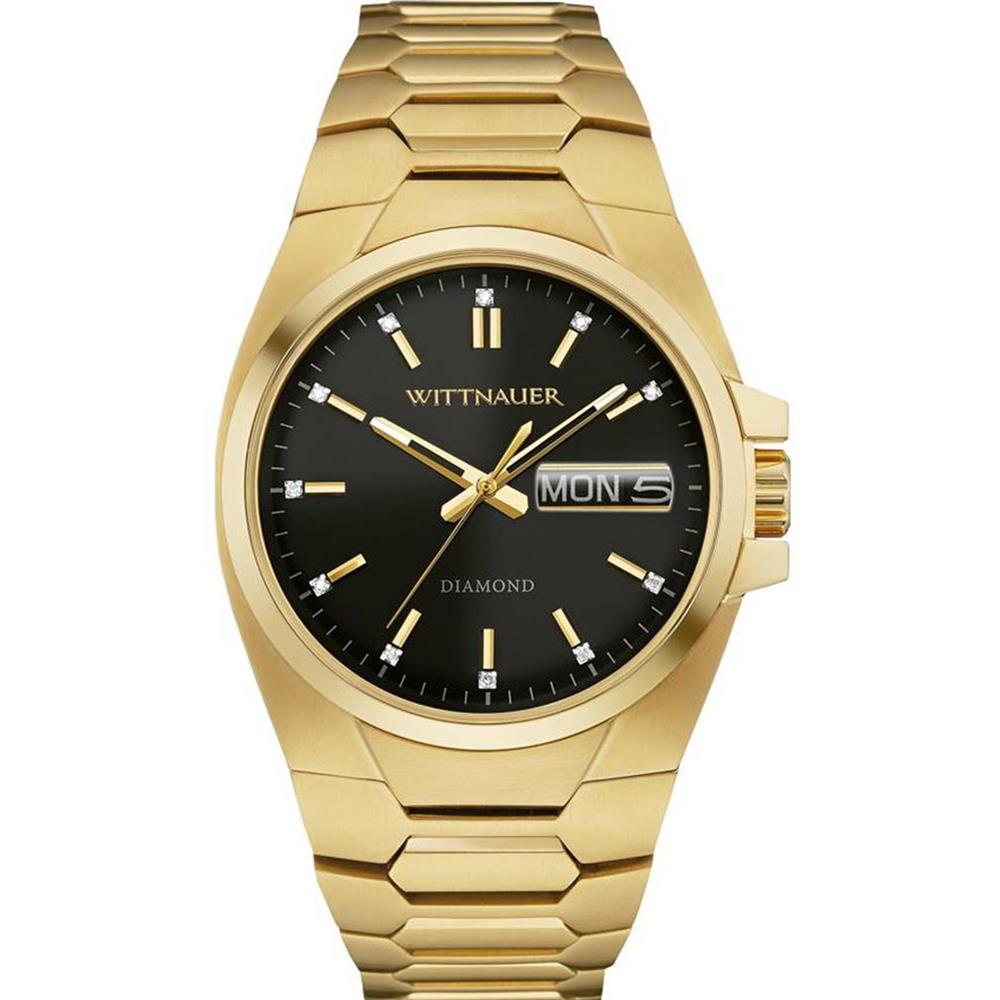 Wittnauer Men's Gold Tone Steel Bracelet & Case Quartz Bl...