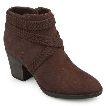 Suede Criss Cross - Brinley Co. Women's Faux Suede Criss Cross Strap Almond Toe Stacked Heel Booties