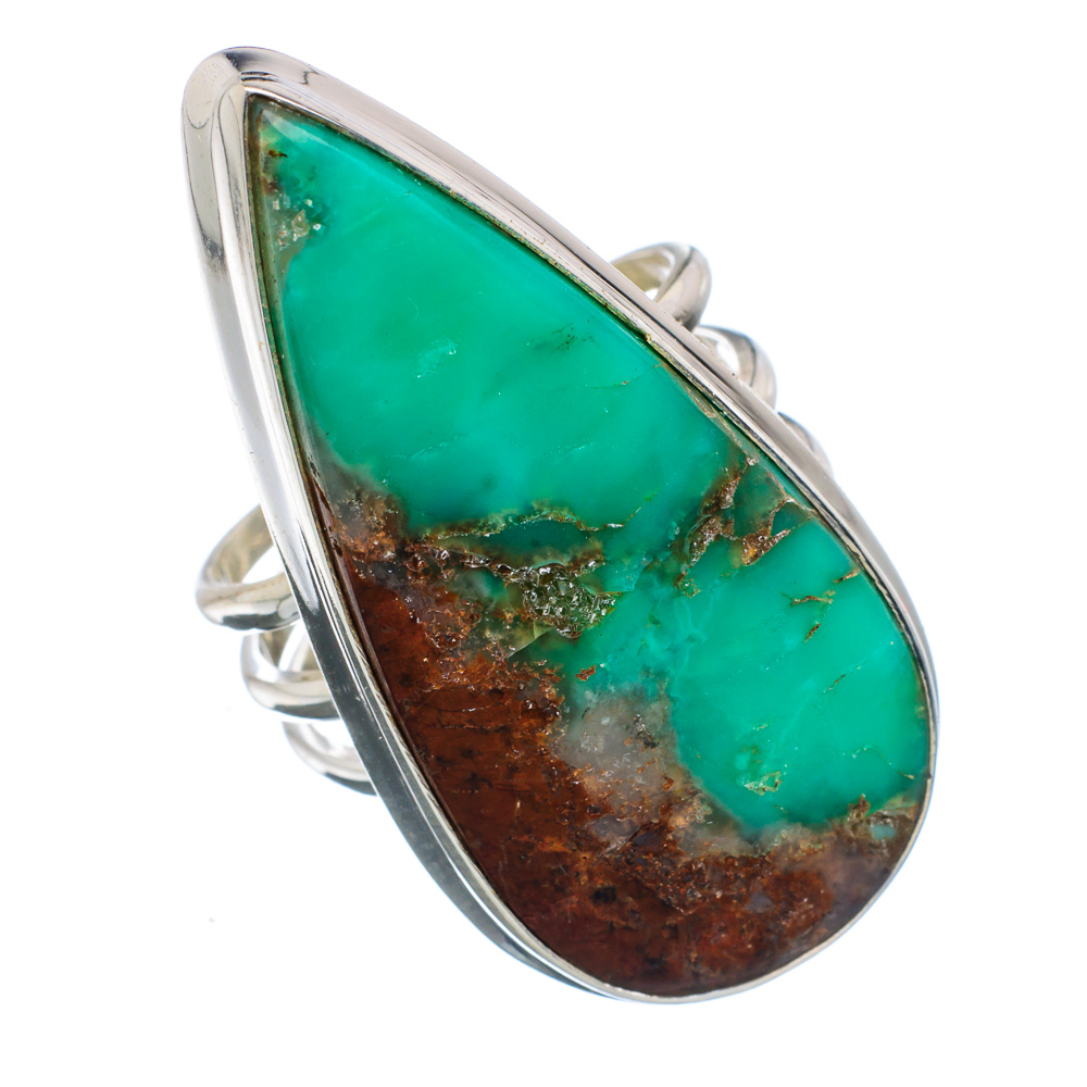 Ana Silver Co Huge Boulder Chrysoprase 925 Sterling Silver Ring Size 9 Handmade Jewelry RING852283 by Ana Silver Co.