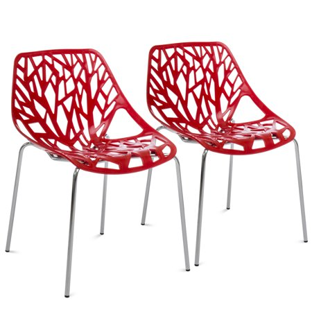 Best Choice Products Set of 2 Mid-Century Modern Eames Style Stenciled Dining Side Chairs w/ Chrome-Plated Legs (Red)