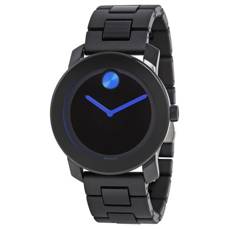 Movado Bold 42 mm Black Dial TR90/Polyurethane Stainless Steel Mens Watch 3600099 (Black Stainless Steel Mens Watch)