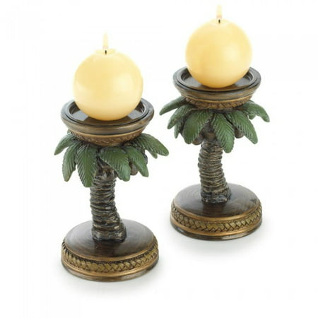 2 Palm Tree Candle Holders - COCONUT TREE CANDLEHOLDERS
