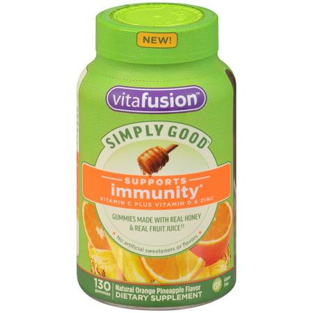 Vitafusion Simply Good Adult Vitamin C plus Vitamin D & Zinc Gummies, Orange Pineapple, 130 Ct ()