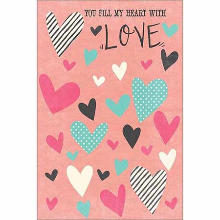 Mens Pvc Dotted Canvas - You Fill My Heart Love Stripe Polka Dot Texture Contemporary Modern Trendy Painting Pink & Blue Canvas Art by Pied Piper Creative