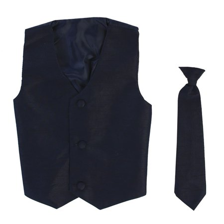 Boys Navy Poly Silk Vest Necktie Special Occasion Set 12/14](Silk Spectre Outfit)