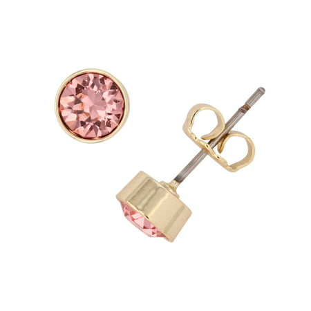 - X & O 14KT Gold Plated 5 mm Bezel Set Flat Back Stud Earrings with Peach Swarovski Crystals