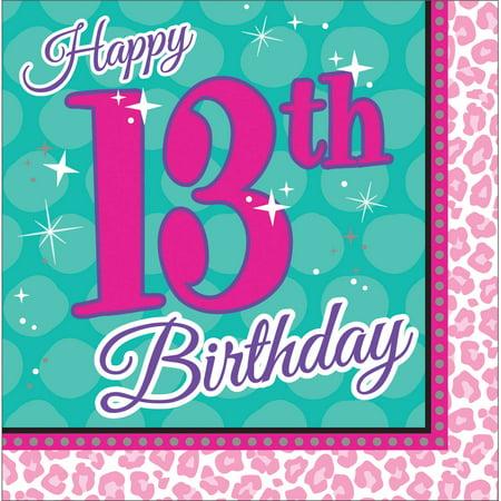 Sparkle Spa Party 13th Birthday Napkins, 16pk