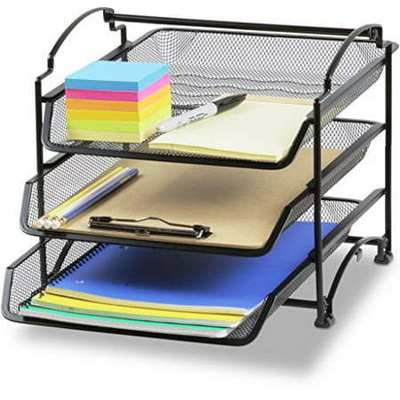 Simplehouseware 3 Tier Stackable Desktop Doent Letter Tray Organizer Black