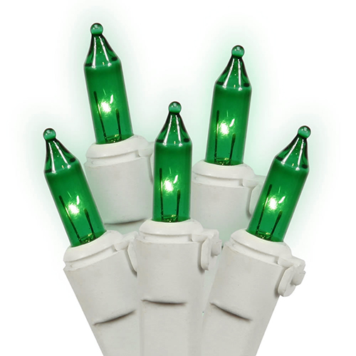 Set of 50 Green Mini Christmas Lights - White Wire