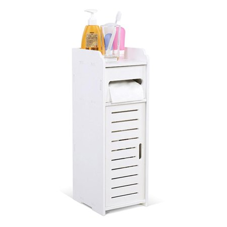 Yosoo Waterproof Bathroom Floor Cabinet Storage Organizer Set with Drawer and Single Shutter Door Wooden White