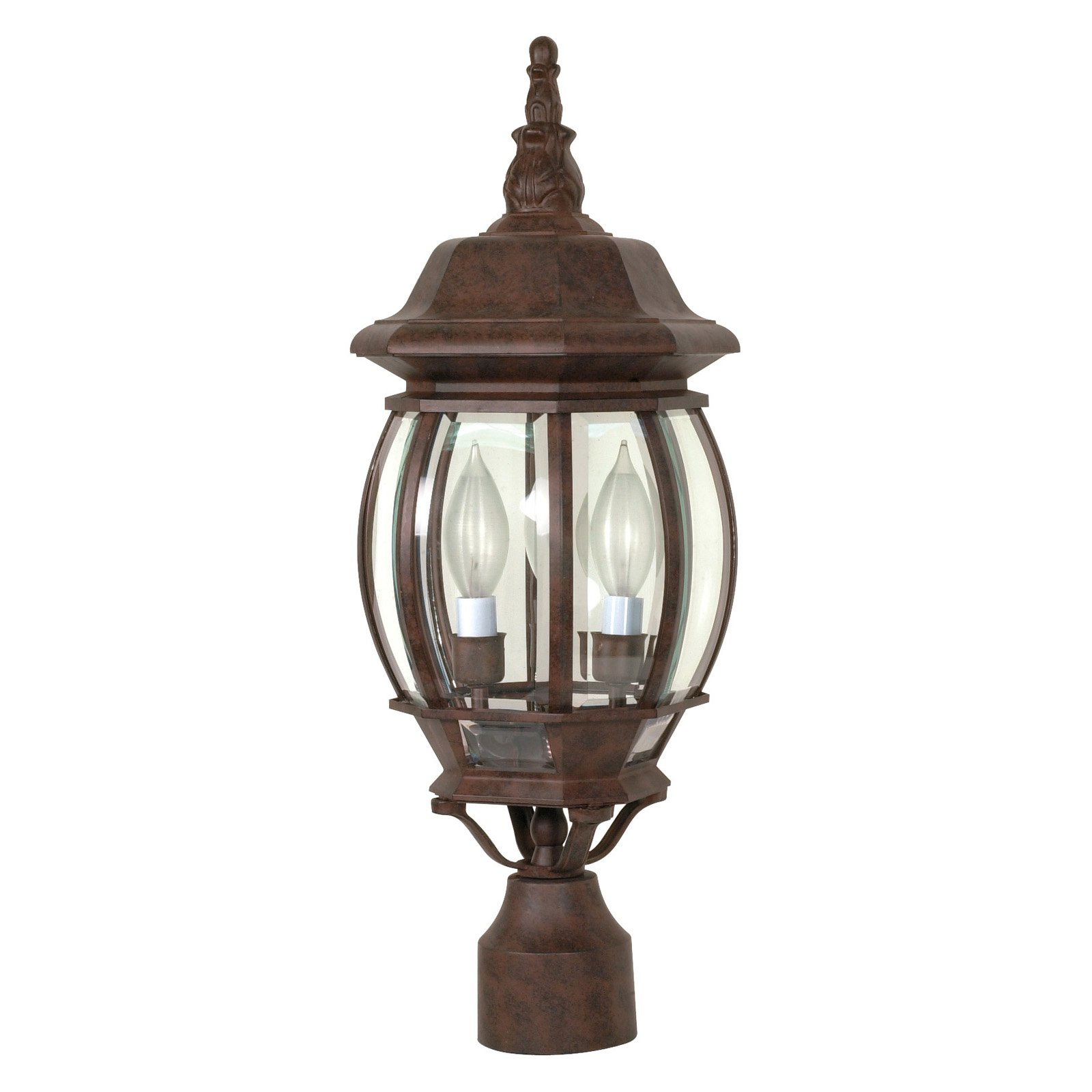 3 Light - 21 in. Post Lantern - Clear Beveled Glass