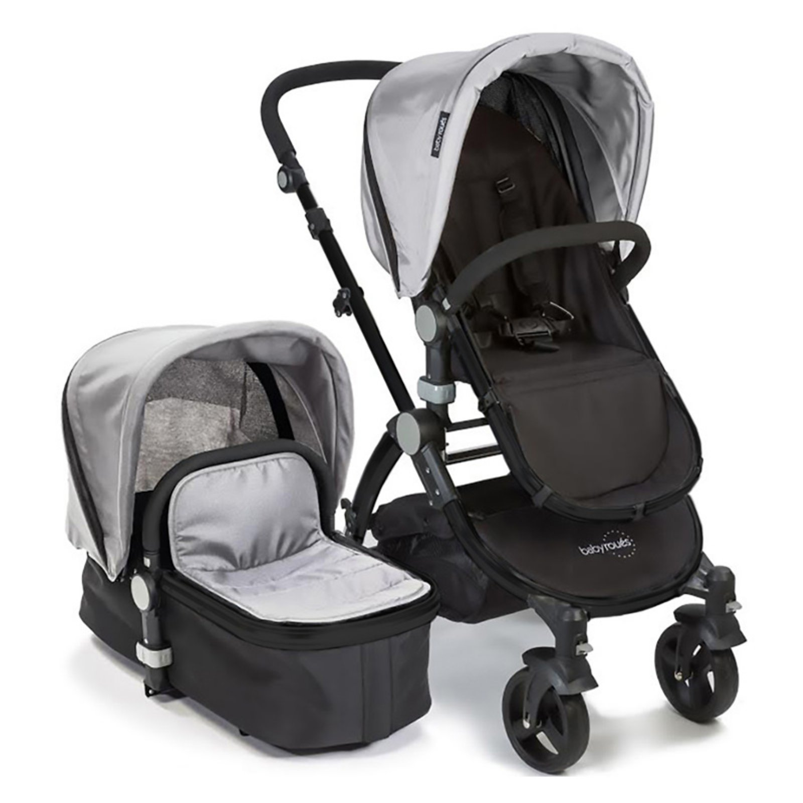 Babyroues Letour II Stroller with Bassinet Black Frame, Silver Fabric
