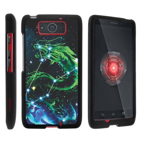Motorola Droid Ultra XT1080 | Droid Maxx XT1080-M, [SNAP SHELL][Matte Black] 2 Piece Snap On Rubberized Hard Plastic Cell Phone Case with Exclusive Art - Dragon  Stars