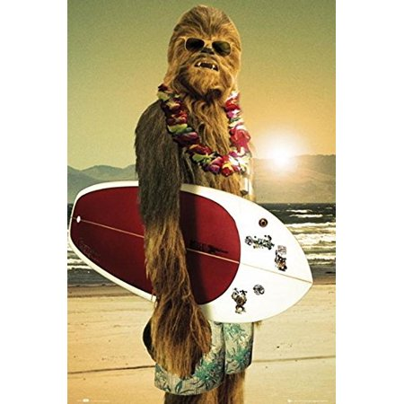 Star Wars Chewbacca with Surfboard 36x24 Movie Art Print Poster (Pulp Fiction Star Wars Poster)