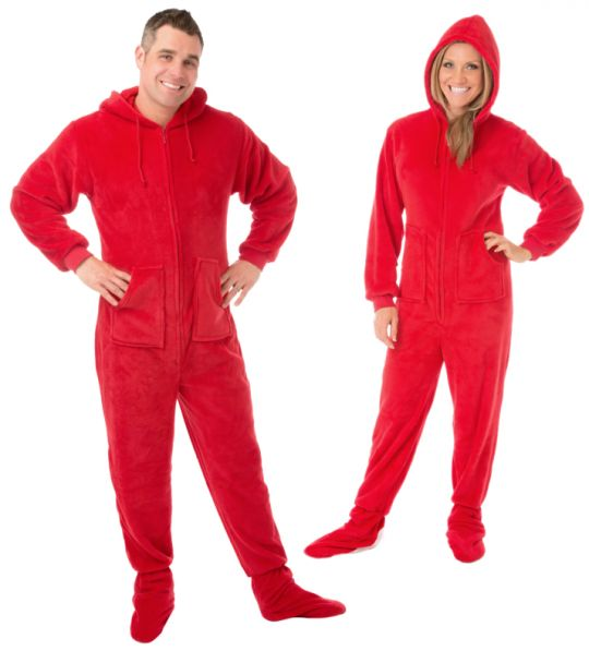 Hoodie Footed Sleeper Red Plush Drop Seat Footed Pajamas ...