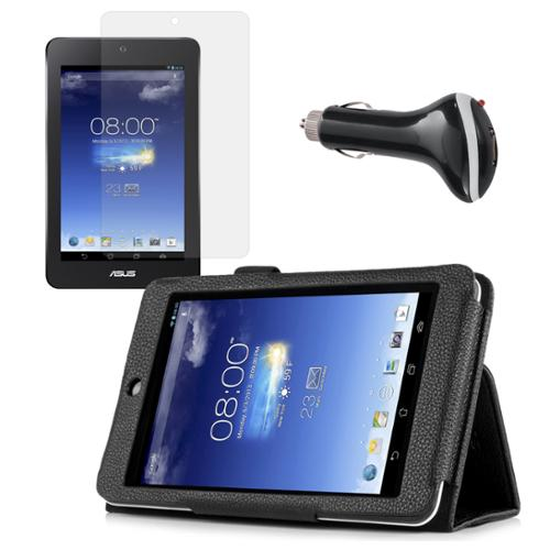 Black Folio Case with Screen Protector and Car Charger for ASUS MeMO Pad HD 7