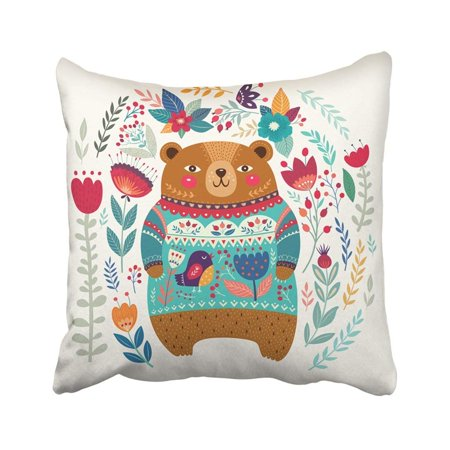 RYLABLUE Colorful Animal Pattern With Adorable Bear Flowers And Leaves Lovely Beautiful With Cute Pillowcase Pillow Cover 16x16 inches - image 1 of 1