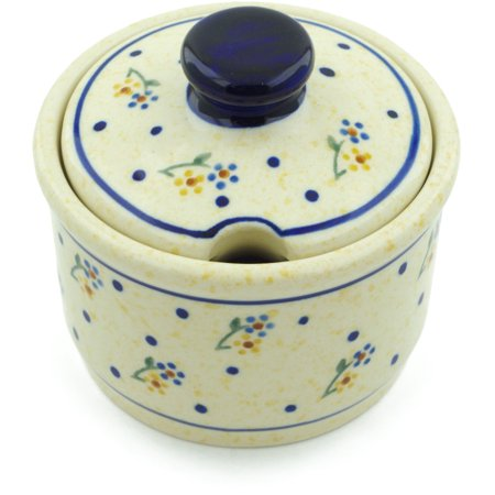 Polish Pottery Sugar Bowl (Country Meadow Theme) Hand Painted in Boleslawiec, Poland + Certificate of Authenticity ()
