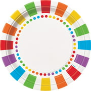 Rainbow Paper Dinner Plates, 9in, 8ct