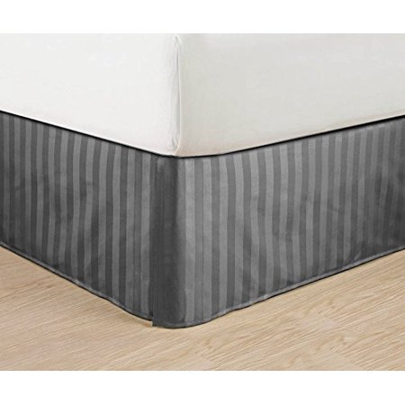 wrinkle free egyptian quality stripe bed skirt pleated tailored 14 drop all sizes and. Black Bedroom Furniture Sets. Home Design Ideas