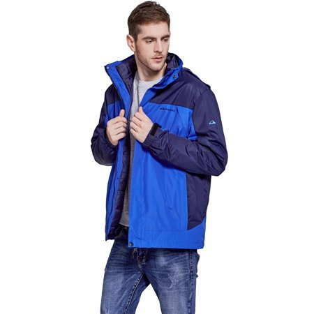 Men's 3-IN-1 MOUNTAIN THERMOTECH HOODED JACKET 3 in 1 Windbreaker Winter Jackets with Hood & Removable Quilted Puffer Jacket Lining- SMALL