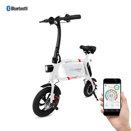 SwagCycle Envy Pro Folding Electric Bike, Pedal Free and App Enabled, 18 mph E Bike with USB Port to Charge on the Go (White)