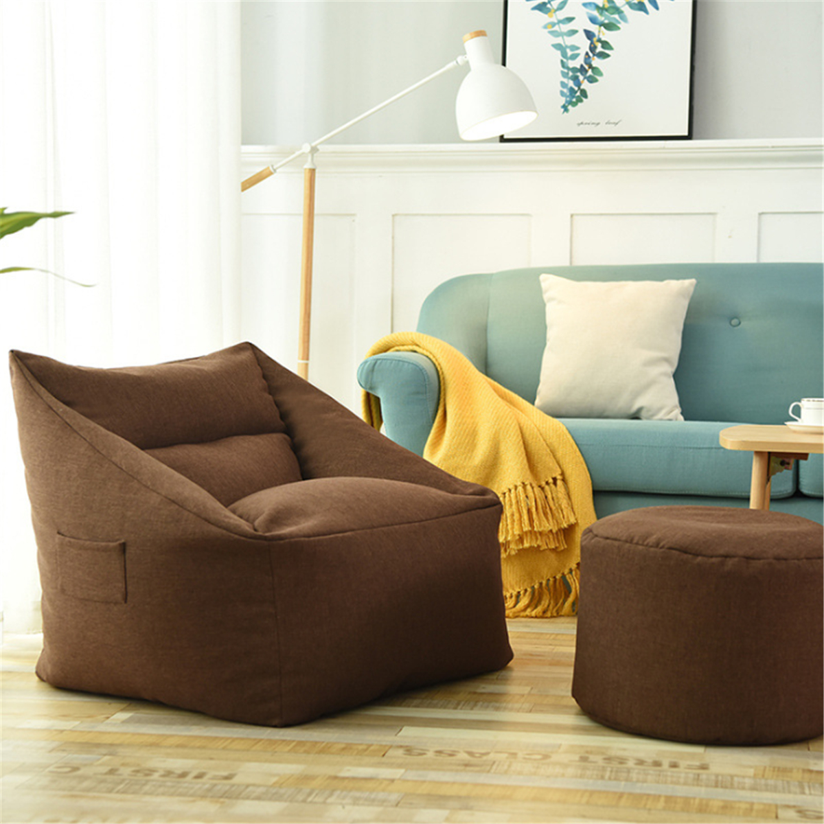 Large Bean Bag Chairs Couch Sofa Cover Indoor Lazy Lounger ...