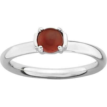 Agate Topaz Ring - Sterling Silver Polished Red Agate Ring