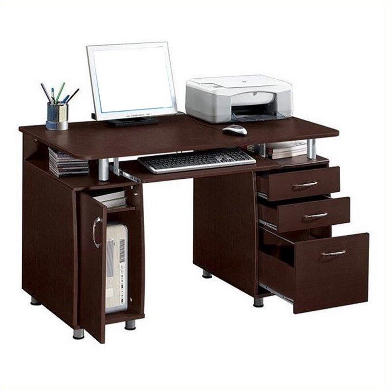 Pemberly Row Super Storage Computer Desk in Chocolate Finish - image 2 de 8