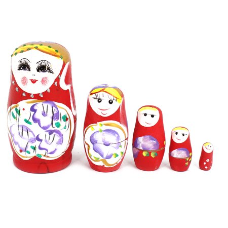 Hand Painted Russian Nesting (Unique Bargains Red Wooden Russian Girl Painting Nesting Doll Matryoshka Decor Set 5 in 1)