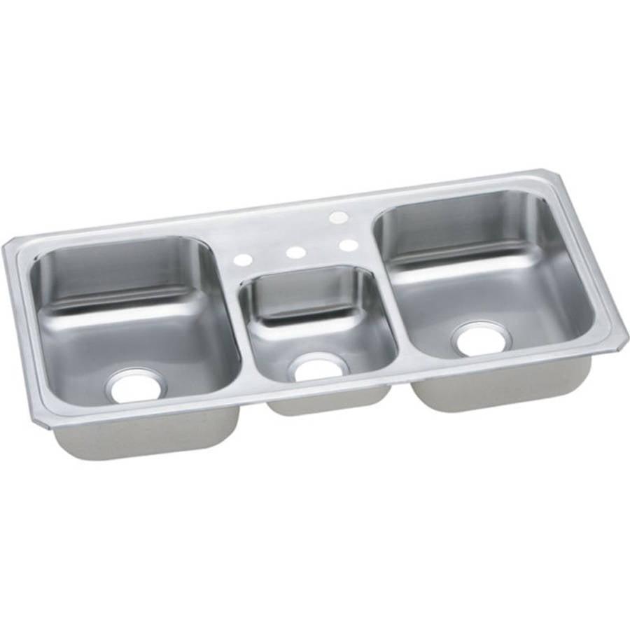 Elkay CMR43225 Gourmet Celebrity Stainless Steel Triple Bowl Top Mount Sink with 5 Faucet Holes