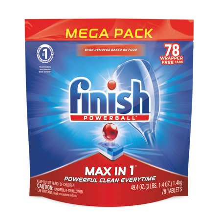 Finish Max in 1 Powerball, 78ct, Wrapper Free, Dishwasher Detergent