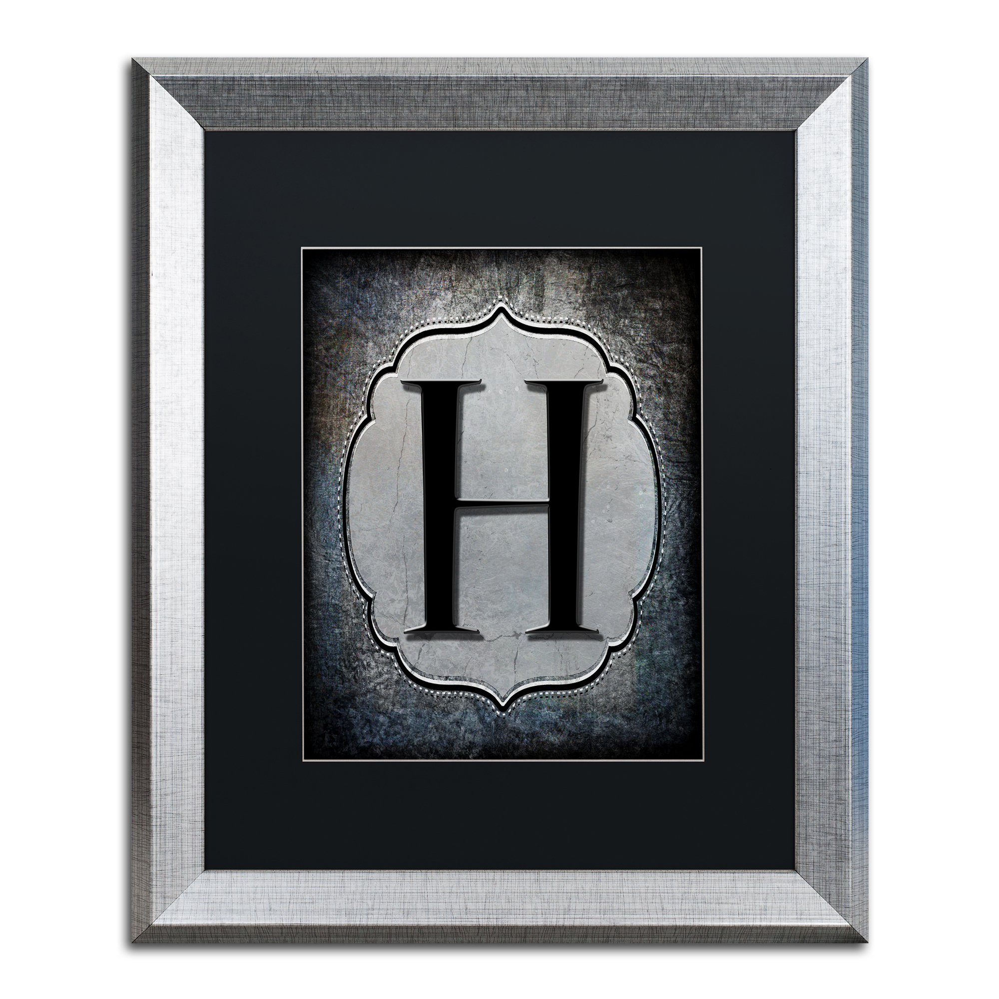 Trademark Fine Art 'Letter H' Black Matte, Silver Framed Artwork by LightBoxJournal by Trademark Global