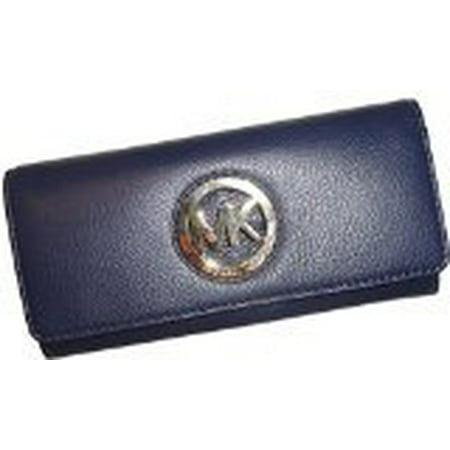 f5ae071451a6fc Michael Kors - Michael Kors Fulton Flap Continental Leather Clutch Wallet  in Navy - Walmart.com