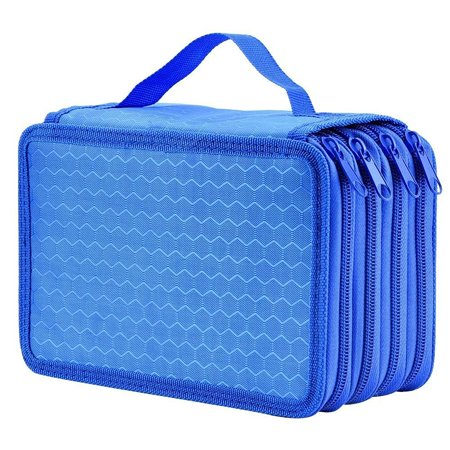 Eeekit High Capacity Pen Pencil Case Box Stationary Pen Pouch Bag Makeup Storage Bag Blue