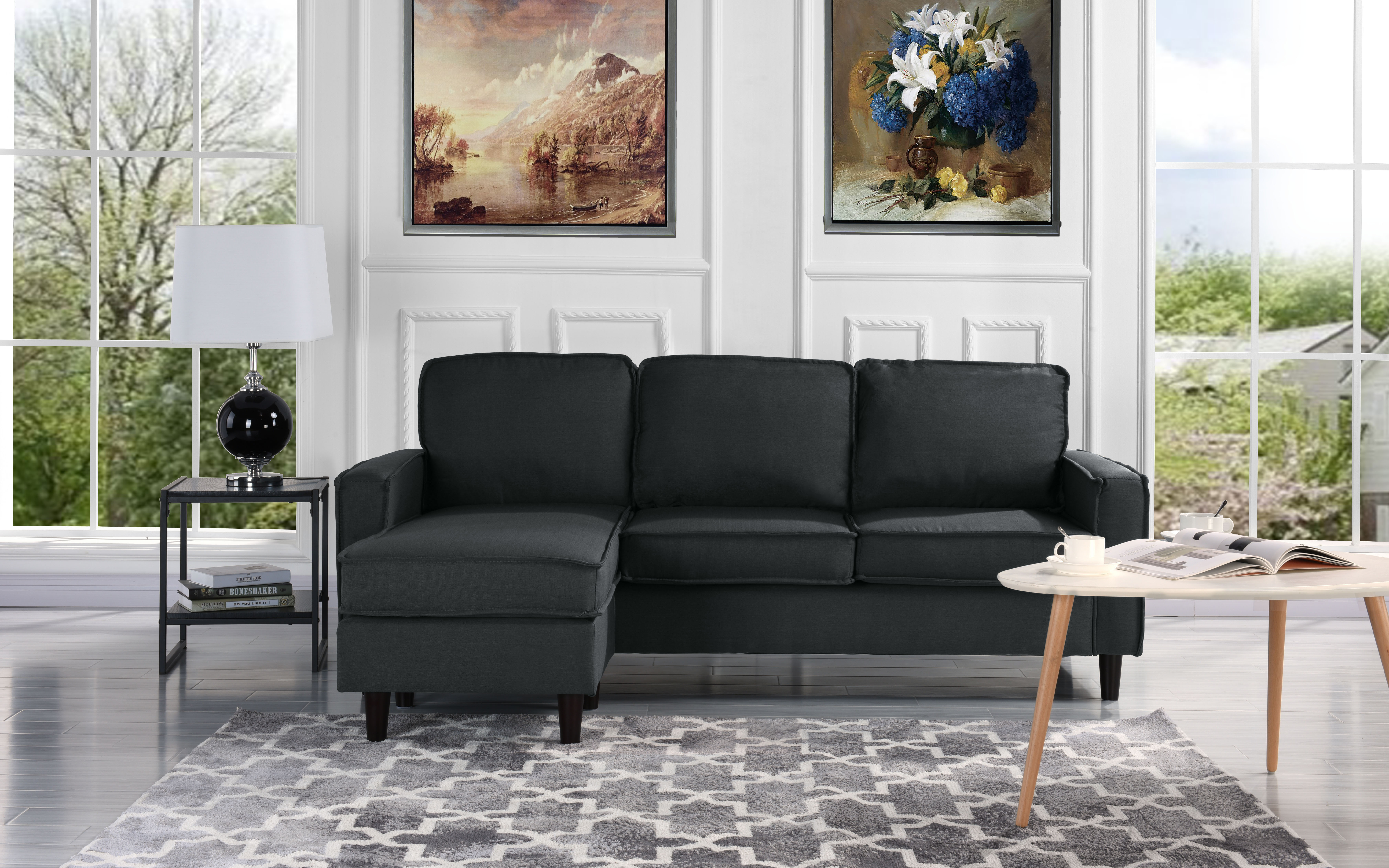 Miraculous Modern Linen Fabric Sectional Sofa Small Space Configurable Couch Dark Grey Machost Co Dining Chair Design Ideas Machostcouk
