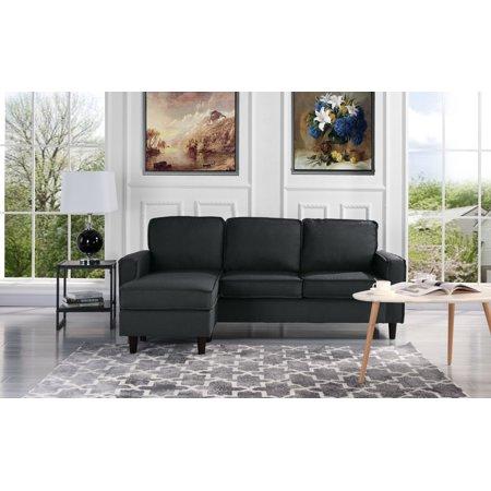 Modern Linen Fabric Sectional Sofa - Small Space Configurable Couch (Dark  Grey) - Walmart.com