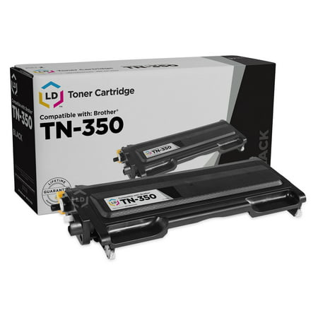 LD Compatible Replacement for Brother TN350 Black Toner Cartridge for use in DCP-7010, DCP-7020, DCP-7025, HL-2030, HL-2040, HL-2070, Intellifax 2820, 2850, 2920 & MFC-7220, MFC-7420, MFC-7820D This is a Compatible Brother TN350 Black Laser Toner Cartridge guaranteed to perform with Brother Laser Printers. It replaces the original Brother TN350 Laser Toner Cartridge. The compatible replacement TN350 Laser Toner Cartridges and supplies (also known as generic) are specially engineered to meet the highest standards of quality, reliability and exceptional yields that meet or exceed OEM (Original Equipment Manufacturer) standards for the TN350 and offer high-quality printing results. Manufactured brand new, containing up to 100% new components, they are an economical alternative to expensive OEM TN350 Brother Laser Toner Cartridges and supplies, and offer big savings over brand-name TN350 Laser Toner Cartridges and supplies. The use of compatible replacement Laser Toner Cartridges and supplies does not void Printer Warranty. Our Compatible TN350 Laser Toner Cartridge is a replacement for OEM Brother TN350 Toner Cartridge. For use in the following Brother printers: DCP 7020, HL 2030, HL 2040, HL 2070N, Intellifax 2820, 2920, MFC 7220, MFC 7225N, MFC 7420, and MFC 7820N. We are the exclusive reseller of LD Products brand of high quality printing supplies on Walmart. For use in: DCP-7010, DCP-7020, DCP-7025  HL-2030, HL-2030R, HL-2040, HL-2040N, HL-2040R, HL-2070N, HL-2070NR  Intellifax 2820, 2850, 2910, 2920  MFC-7220, MFC-7225N, MFC-7420, MFC-7820D, MFC-7820N Page Yield Per Cartridge: 2,500  Shelf Life: 24-36 Months Fast shipping and award-winning customer service
