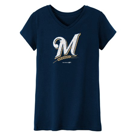 Milwaukee Brewers Mlb Pool - MLB Milwaukee BREWERS TEE Short Sleeve Girls 50% Cotton 50% Polyester Team Color 7 - 16
