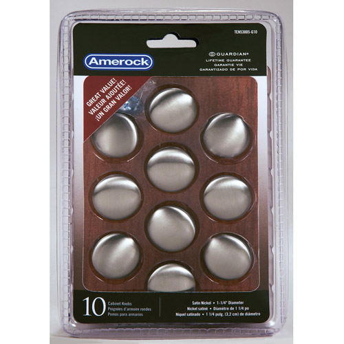 "Amerock Satin Nickel 1-1/4"" Traditional Knobs, 10pk"