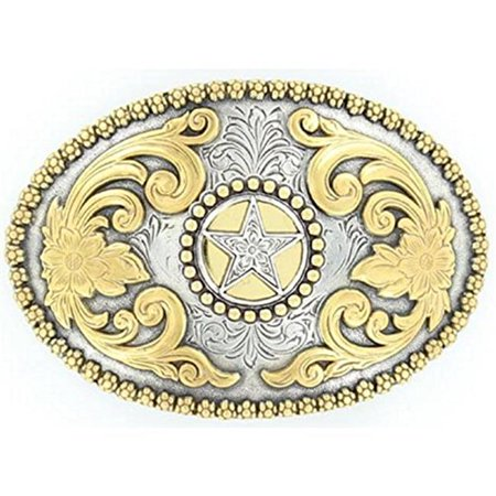 M&F Western Products 3756644 Nocona Oval Berry Edge Star Buckle for Mens - Antique Silver & Antique Gold - image 1 de 1
